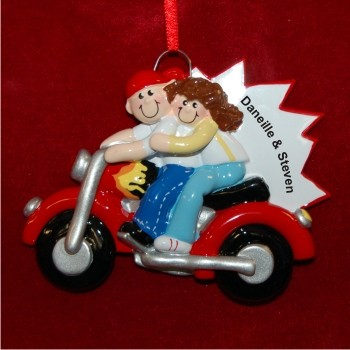 Couple on Motorcycle Personalized Christmas Ornament