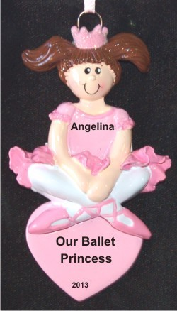 Ballerina Princess Brunette Christmas Ornament Personalized