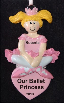 Ballerina Princess Blond Christmas Ornament Personalized