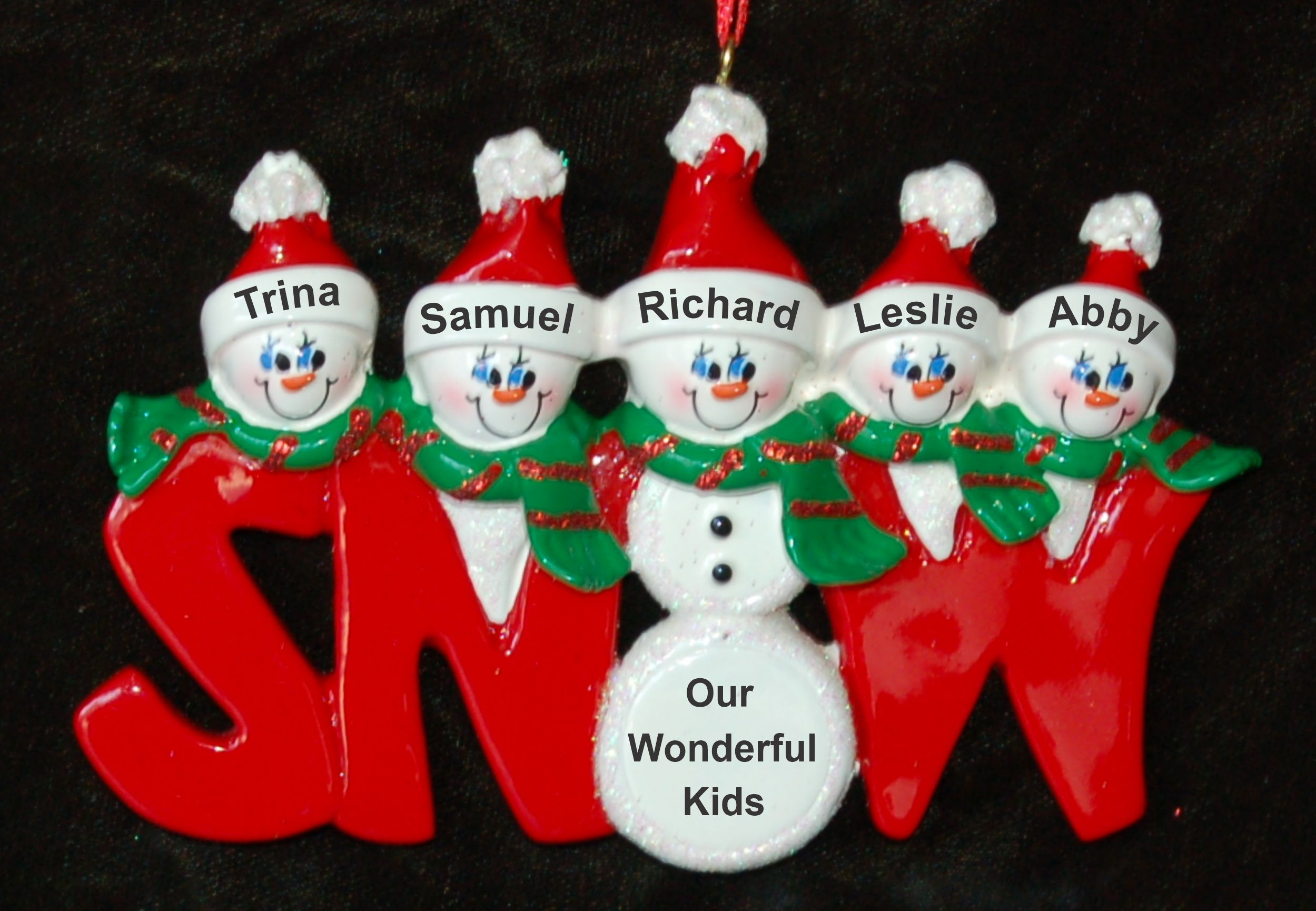 Personalized Family Christmas Ornament Snow Much Fun Just the Kids 5 by Russell Rhodes