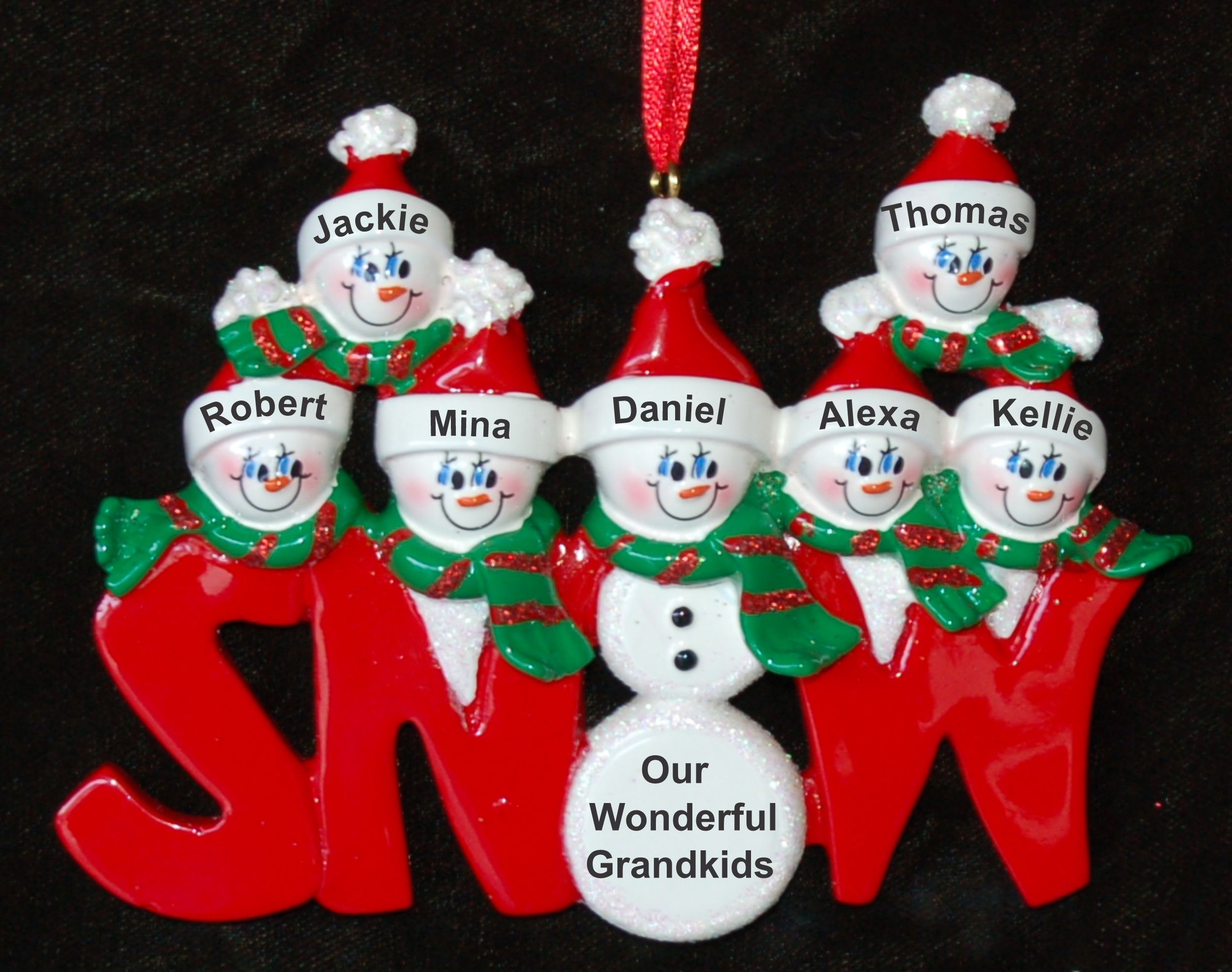 Personalized Grandparents Christmas Ornament Snow Peeps 7 Grandkids by Russell Rhodes