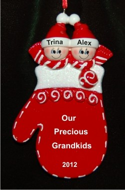 Christmas Mitten: Our Twins Personalized Christmas Ornament