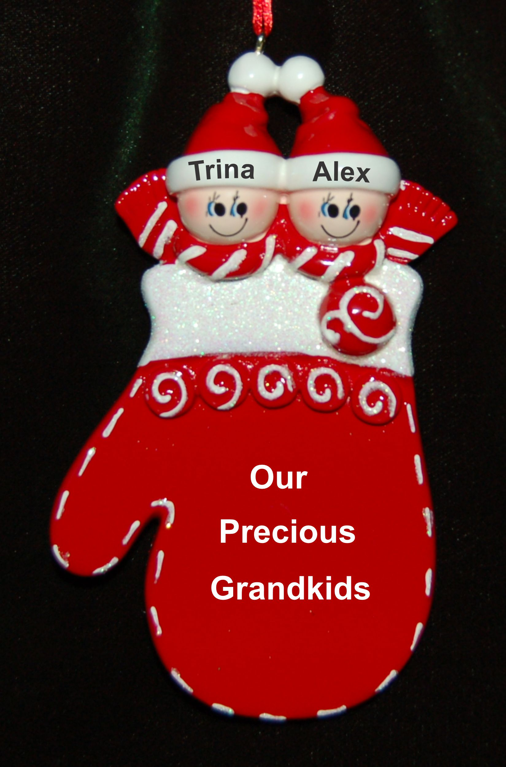 Personalized Grandparents Christmas Ornament Holiday Mitten 2 Grandkids by Russell Rhodes