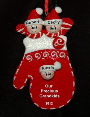 Christmas Mitten: Our Three Grandkids Christmas Ornament Personalized by Russell Rhodes