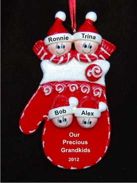 Christmas Mitten: Our Four Grandkids Christmas Ornament
