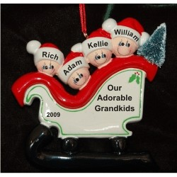 Christmas Sleigh for Grandkids - 4 Personalized Christmas Ornament
