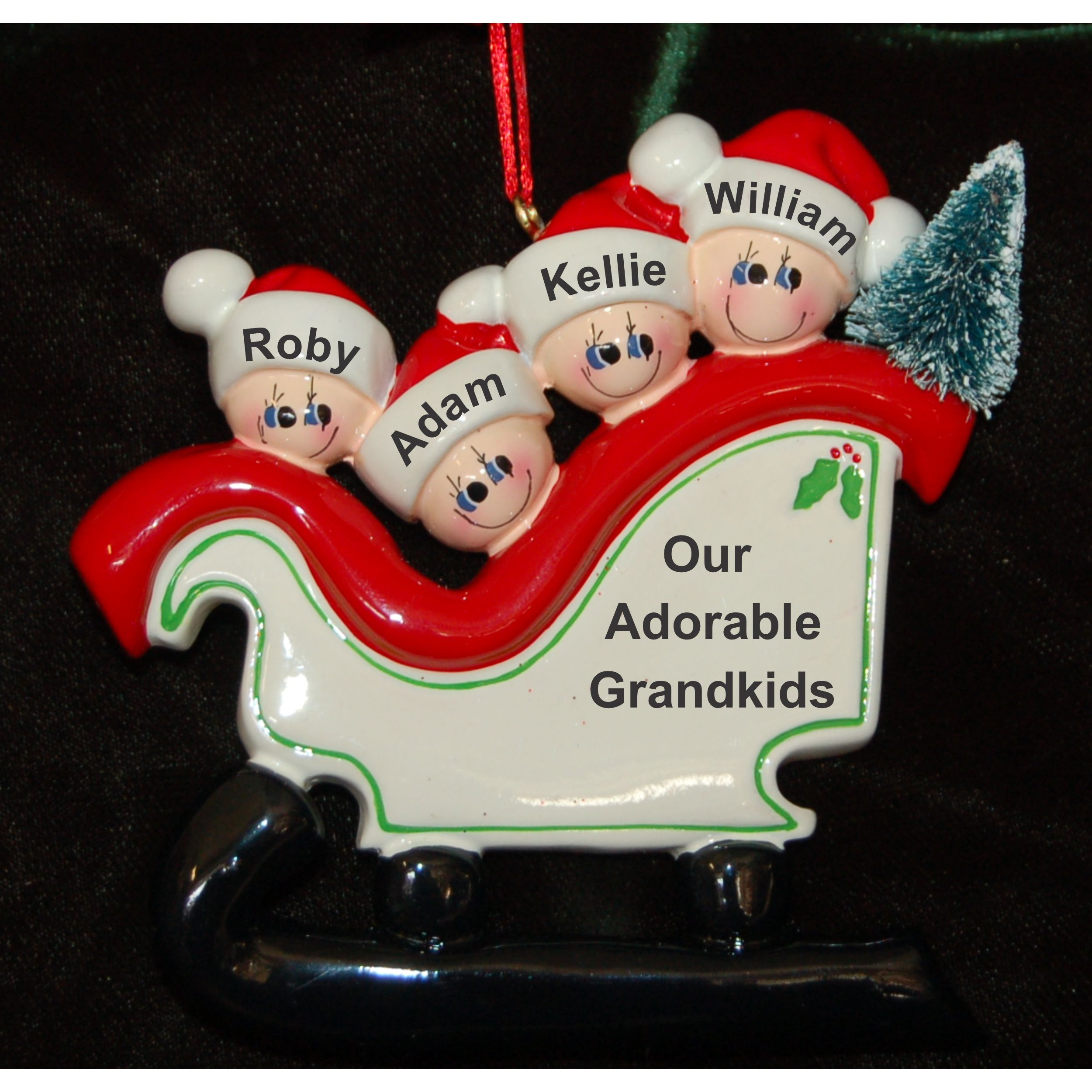 Personalized Grandparents Christmas Ornament Sleigh 4 Grandkids by Russell Rhodes
