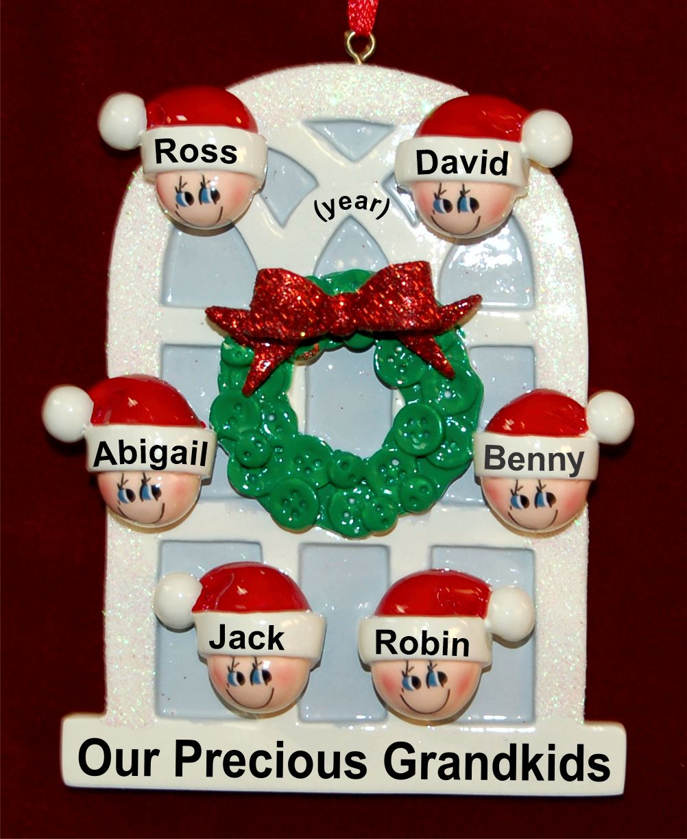 Grandparents Christmas Ornament Arched Holiday Window for 6 Personalized FREE by Russell Rhodes