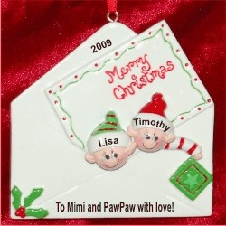 Christmas Greetings from 2 Grandkids Personalized Christmas Ornament