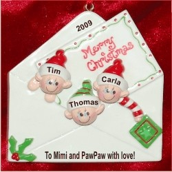 Christmas Greetings from 3 Grandkids Personalized Christmas Ornament