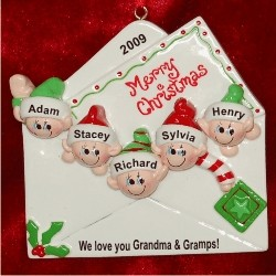 Christmas Greetings from 5 Grandkids Christmas Ornament Personalized by Russell Rhodes