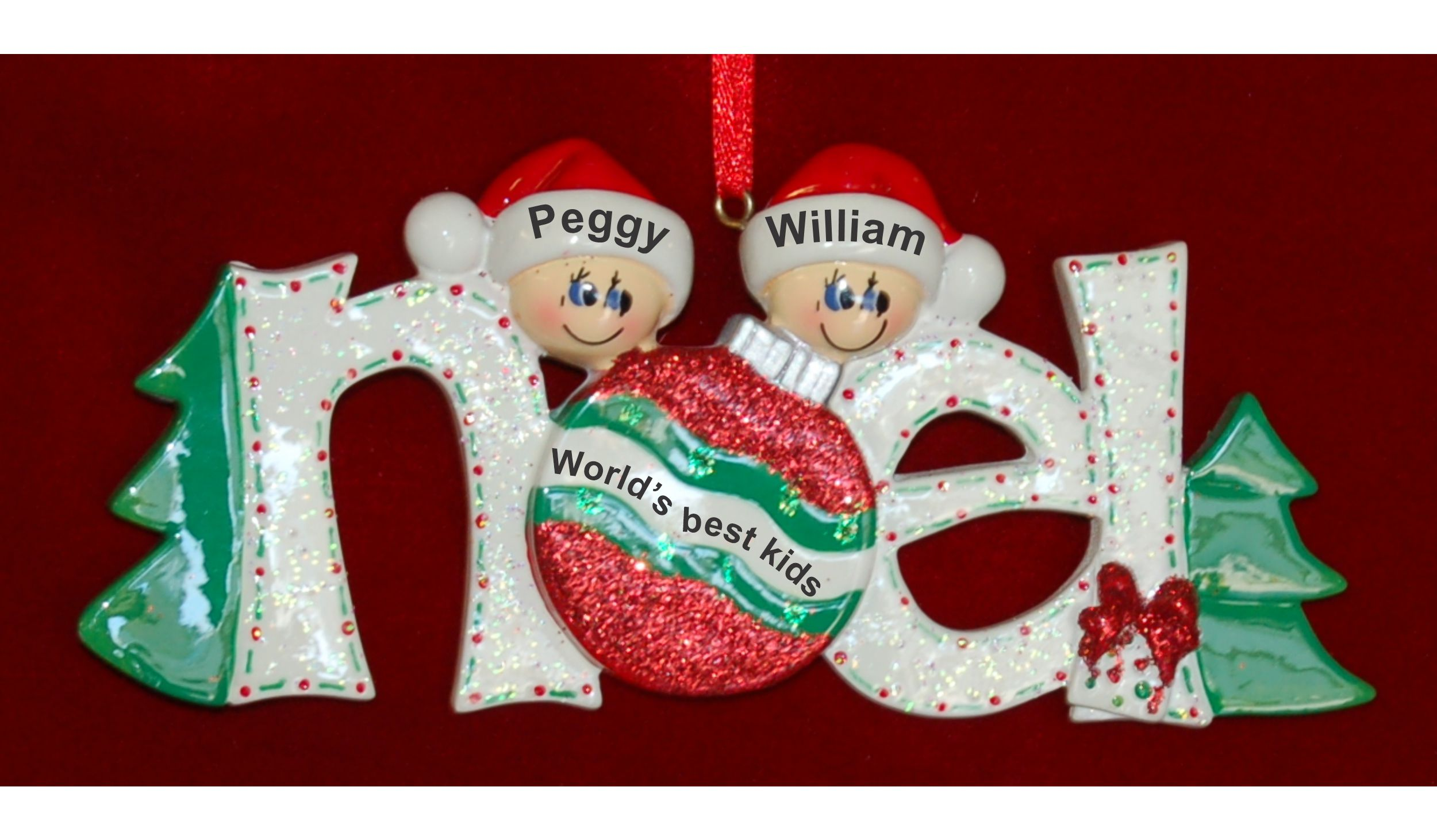 Personalized Family Christmas Ornament Noel Just the Kids 2 by Russell Rhodes