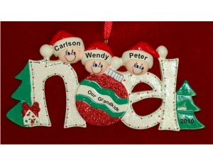 3 Grandkids Noel Christmas Ornament Personalized by Russell Rhodes