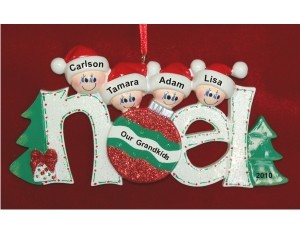 4 Grandkids Noel Christmas Ornament Personalized by Russell Rhodes