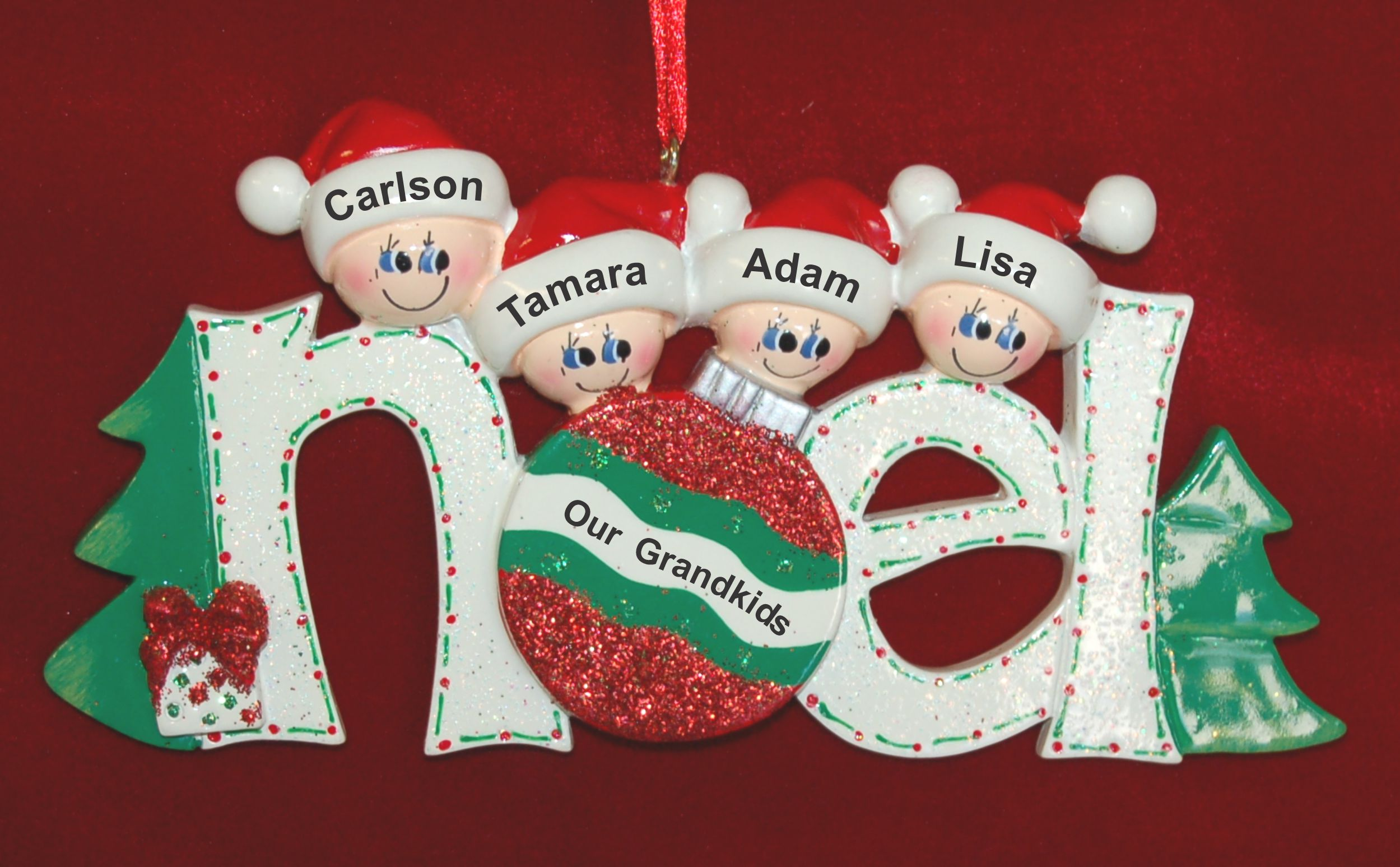 Personalized Grandparents Christmas Ornament Noel 4 Grandkids by Russell Rhodes