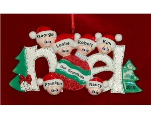 6 Grandkids Noel Christmas Ornament Personalized by Russell Rhodes