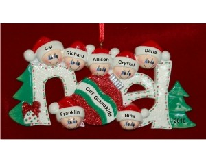 7 Grandkids Noel Christmas Ornament