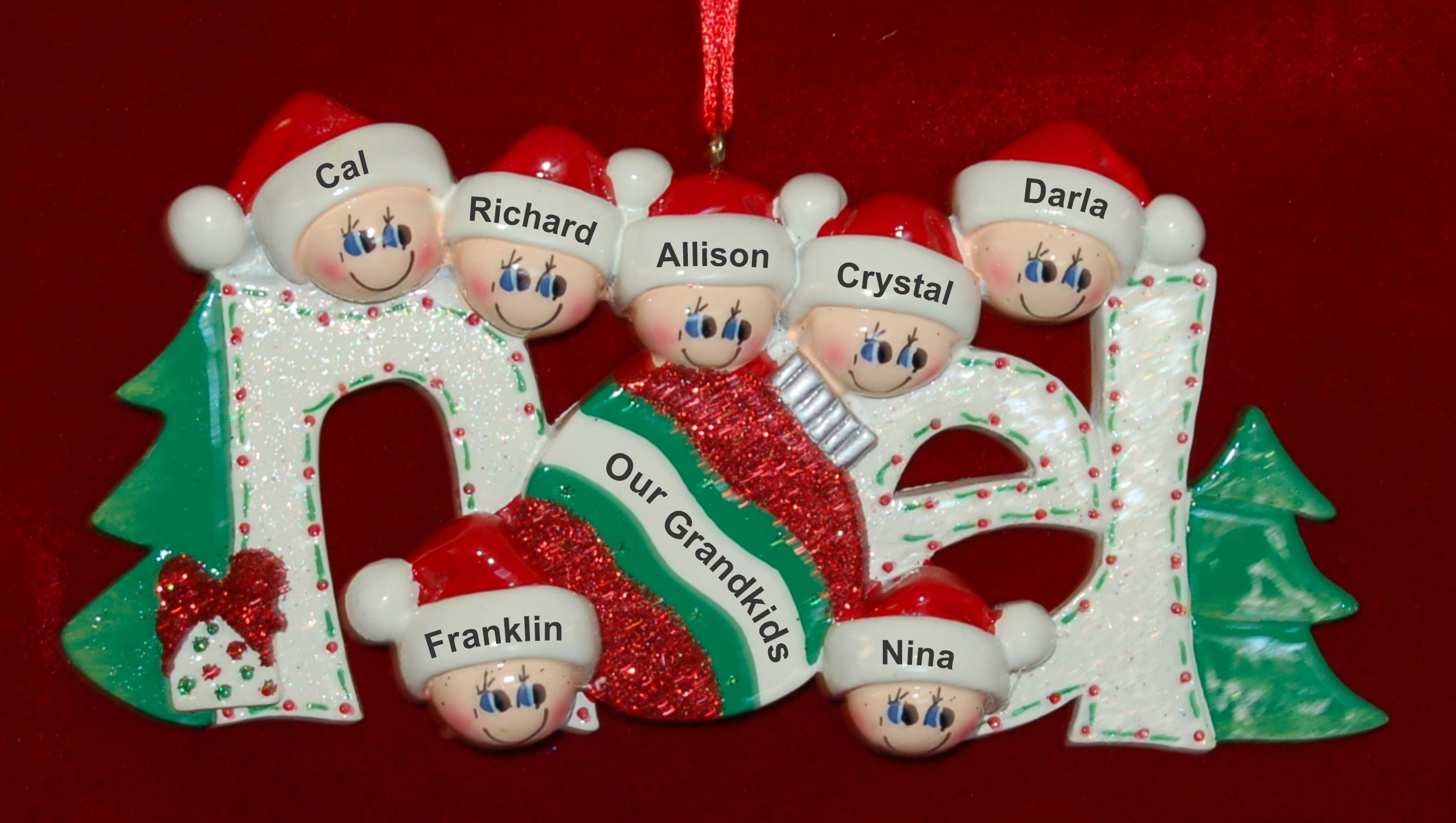 Personalized Grandparents Christmas Ornament Noel 7 Grandkids by Russell Rhodes