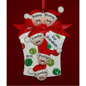 Our 5 Grandchildren -- Christmas Gift Personalized Christmas Ornament