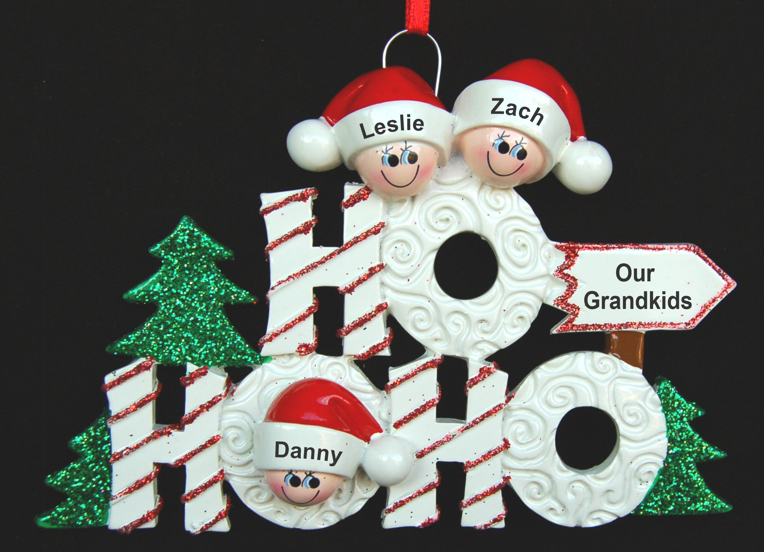 Personalized Grandparents Christmas Ornament Ho Ho Ho 3 Grandkids by Russell Rhodes