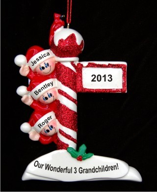 north pole post for 3 grandchildren christmas ornament - North Pole Christmas Decorations
