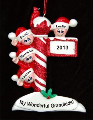 North Pole Post for 4 Grandchildren Personalized Christmas Ornament