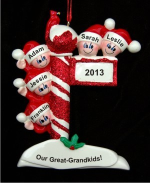 Holiday Celebrations: My 5 Great Grandchildren Personalized Christmas Ornament