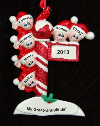 Holiday Celebrations: My 6 Great Grandchildren Personalized Christmas Ornament
