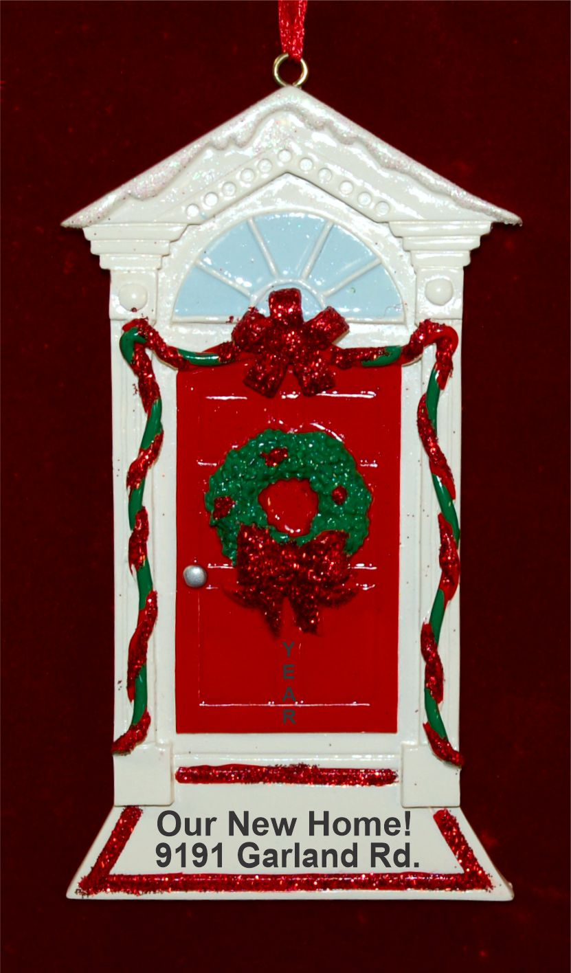 New Home Christmas Ornament Red Bow & Door Personalized FREE by Russell Rhodes
