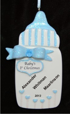 Baby's Special Bottle for Baby Boy Christmas Ornament