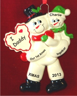 First Xmas Together Single Dad With Child Christmas Ornament Personalized