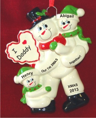 First Xmas Together Single Father With 2 Children Christmas Ornament Personalized