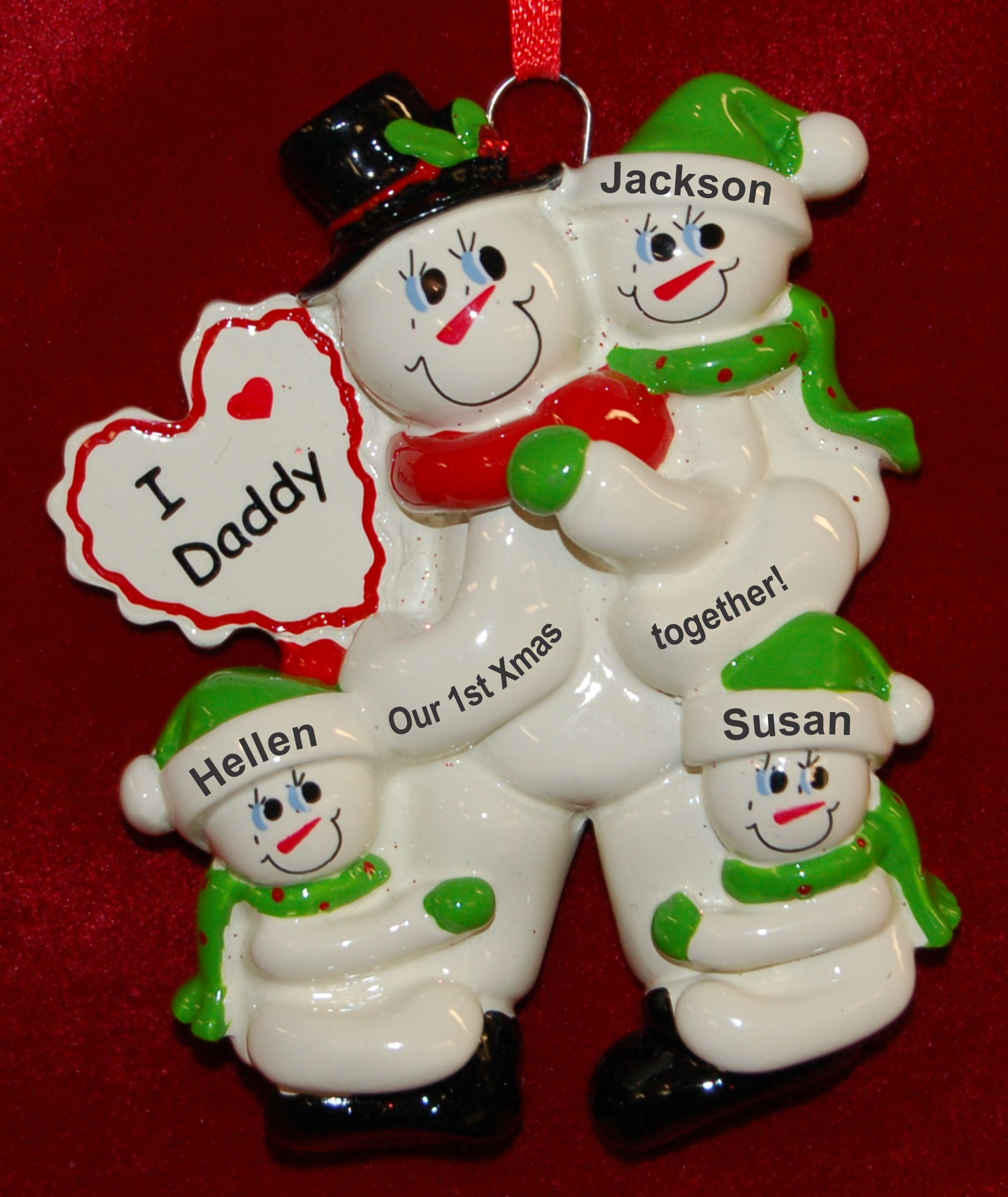 Personalized Single Dad Christmas Ornament 1st Xmas Together 3 Kids by Russell Rhodes
