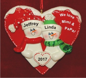 2 Grandkids Heart of Love for Grandparents Christmas Ornament