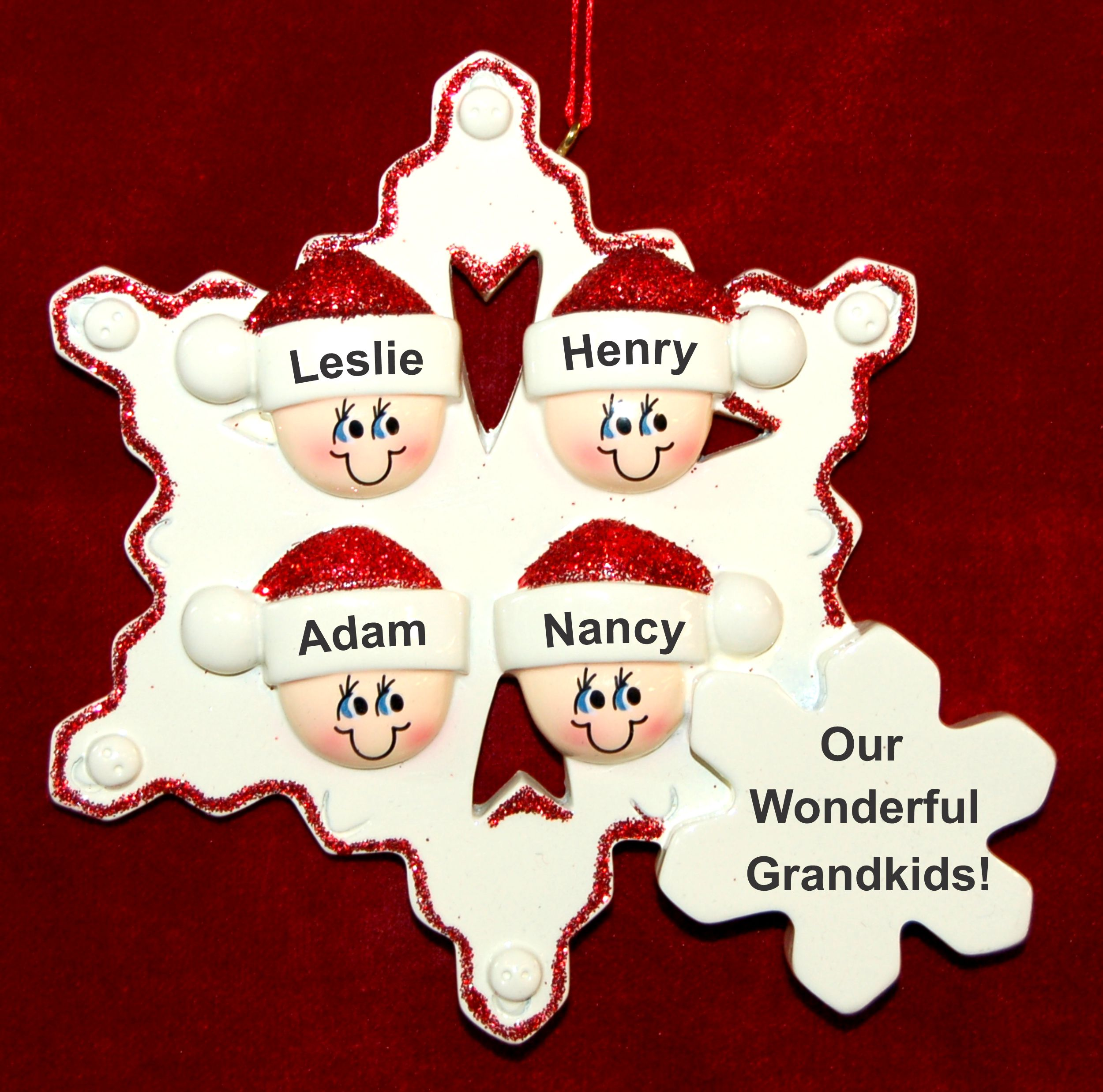 Personalized Grandparents Christmas Ornament Snowflakes 4 Grandkids by Russell Rhodes