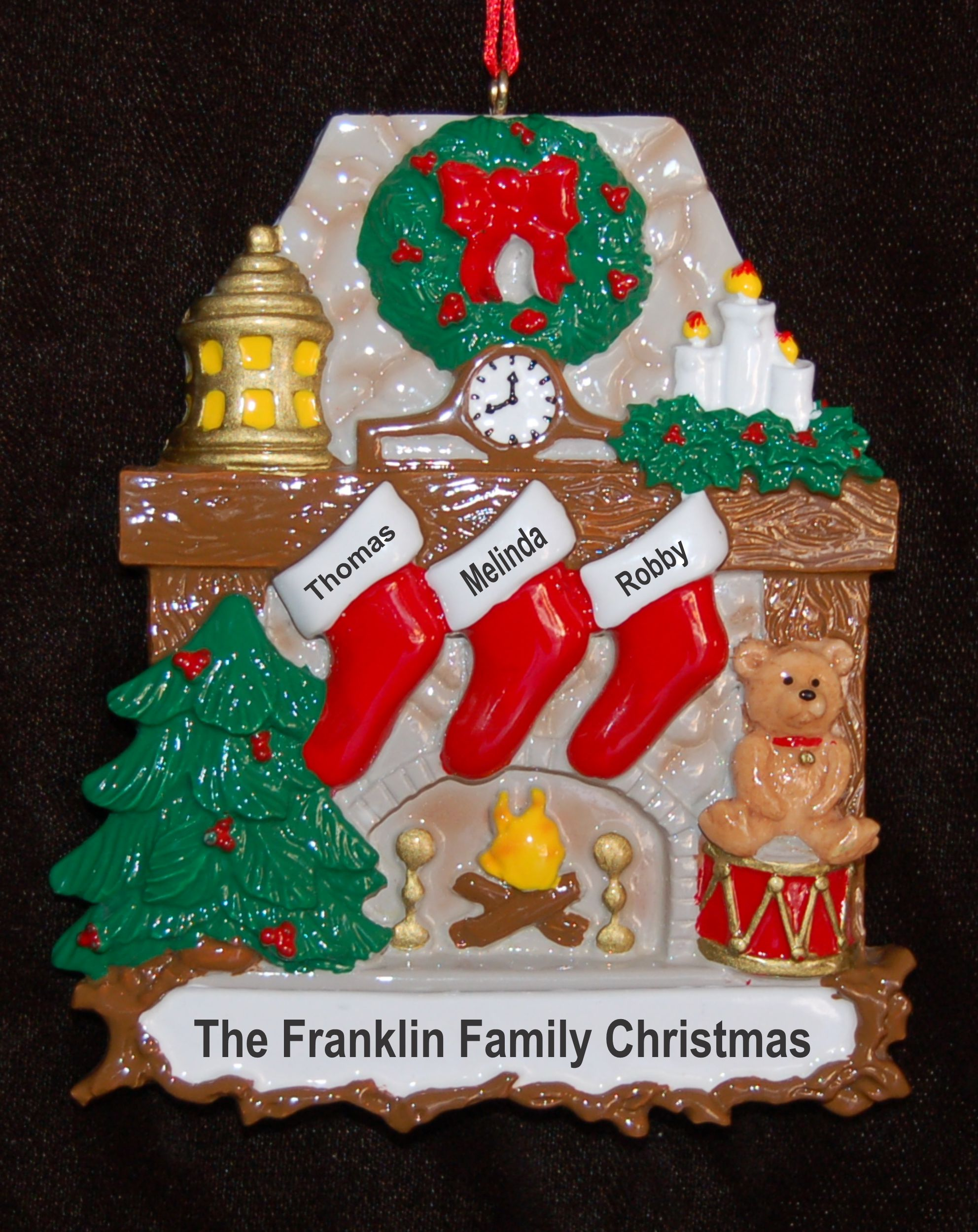 Personalized Family Christmas Ornament Stone Fireplace 3 by Russell Rhodes