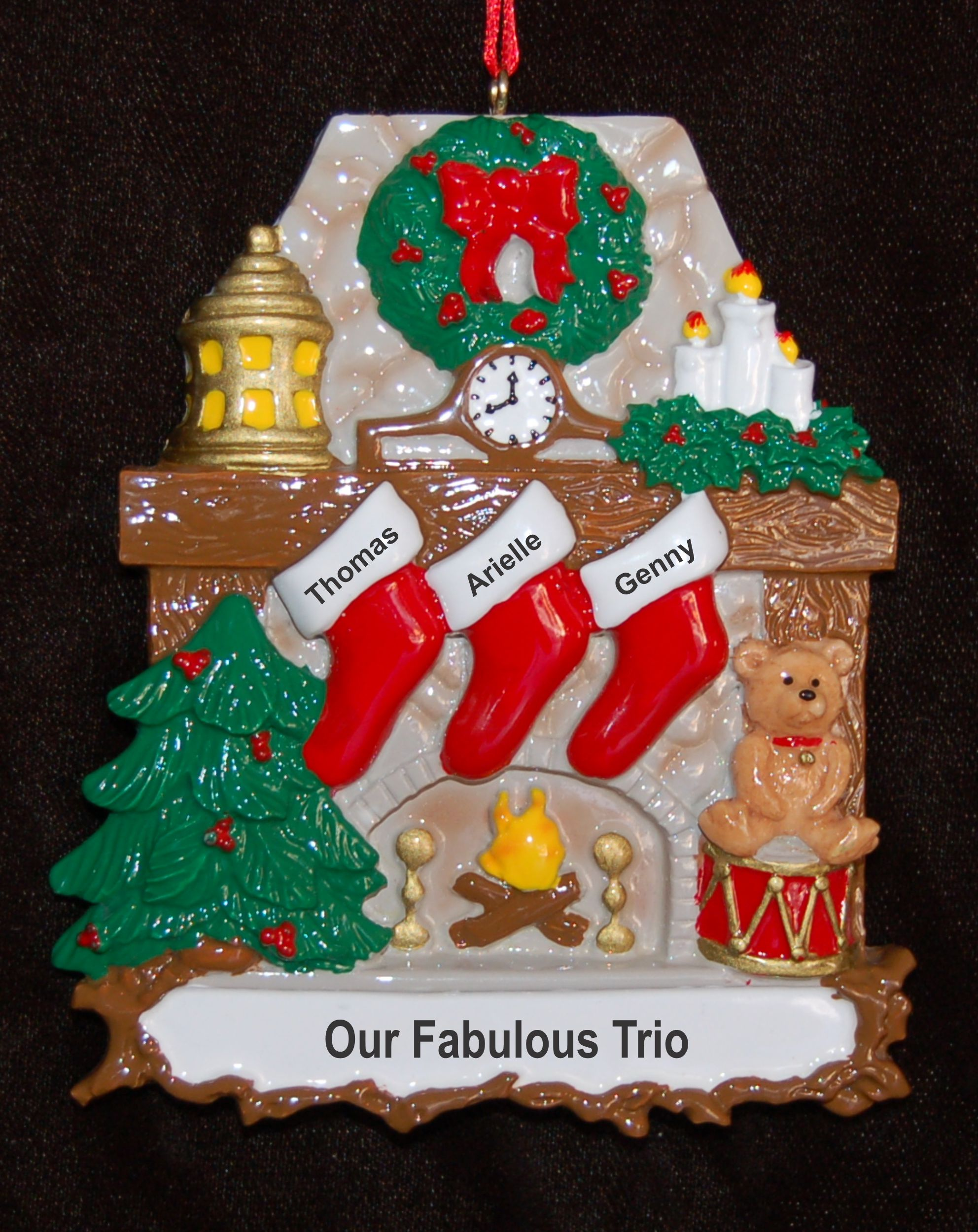 Personalized Fanily Christmas Ornament Stone Fireplace 3 Kids by Russell Rhodes