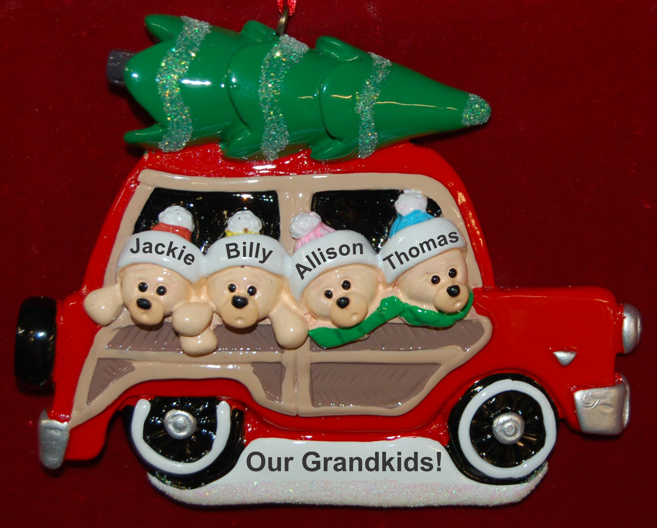 Personalized Grandparents Christmas Ornament Woody 4 Grandkids by Russell Rhodes