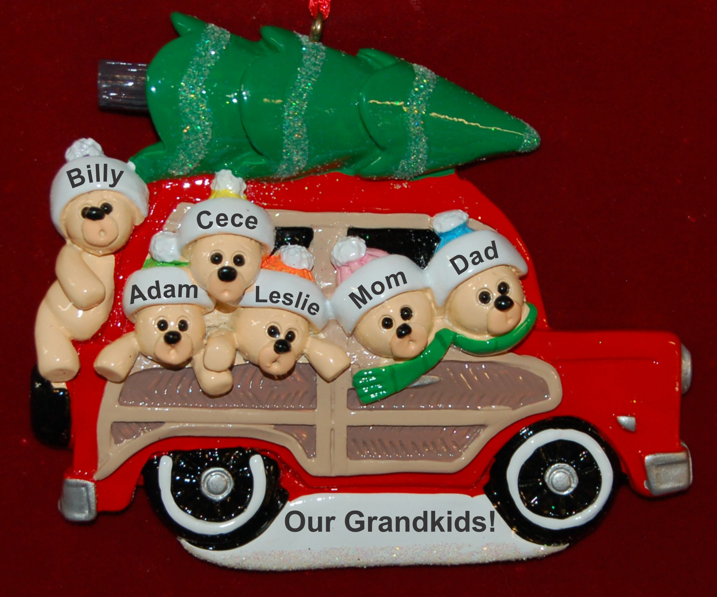 Personalized Grandparents Christmas Ornament Woody 6 Grandkids by Russell Rhodes