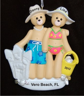 Beach Family of 2 Personalized Christmas Ornament