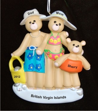 Beach Family of 3 Christmas Ornament