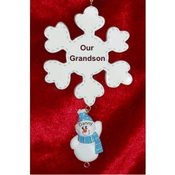 Winter Snowflake - 1 Grandchild Personalized Christmas Ornament
