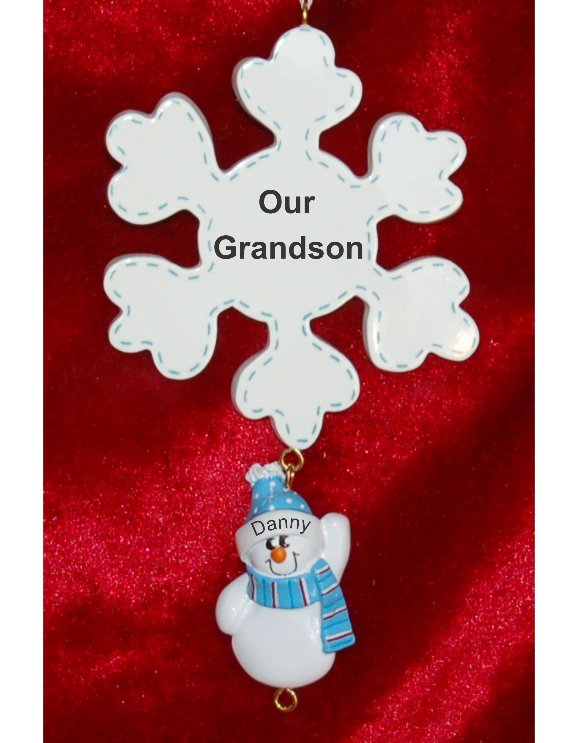 Personalized Grandparents Christmas Ornament Snowflake 1 Grandchild by Russell Rhodes