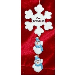 Winter Snowflake - 2 Grandkids Personalized Christmas Ornament