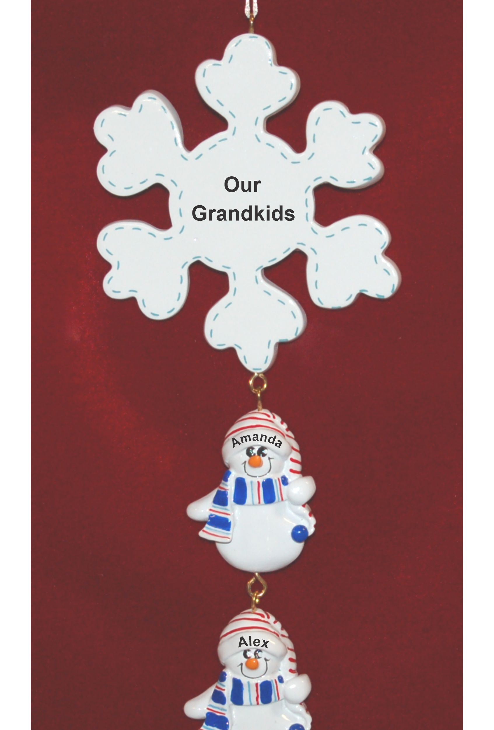 Personalized Grandparents Christmas Ornament Snowflake 3 Grandkids by Russell Rhodes