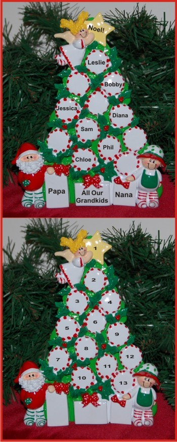 Peppermint Tree All Our Grandkids - 7 Personalized Tabletop Christmas Decoration