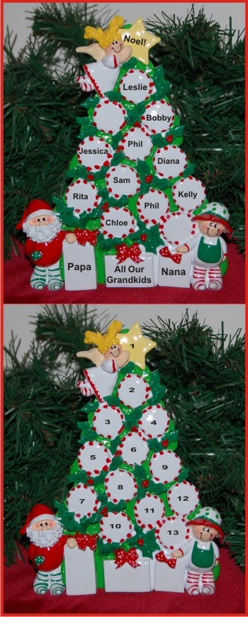 Peppermint Tree All Our Grandkids - 10 Personalized Tabletop Christmas Decoration