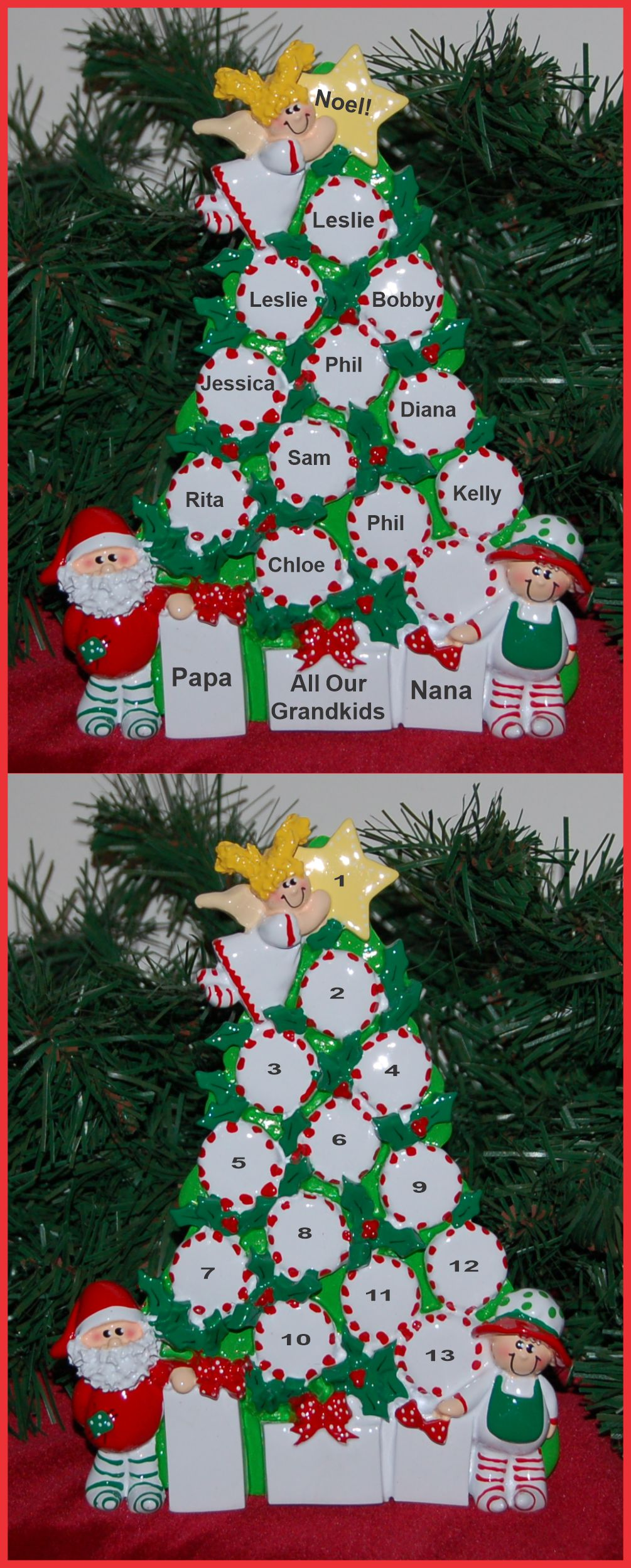 Personalized Grandparents Tabletop Christmas Decoration Peppermints for 11 by Russell Rhodes