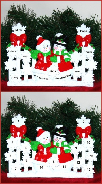 Snowflakes in Winter Tabletop: Our 5 Grandkids Personalized Tabletop Christmas Decoration