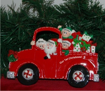 Santa's Fire Engine Tabletop: Our 1st Xmas Family of 4 Personalized Tabletop Christmas Decoration